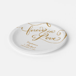 Tag Style Script Forever in Love Gold Look 7 Inch Paper Plate