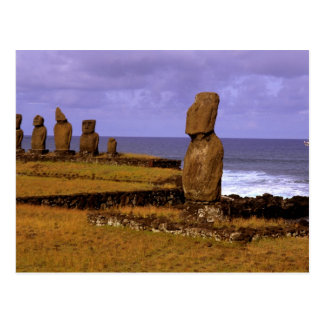 Tahai Platform Moai Statue Abstracts Easter Postcard