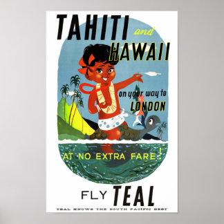 Tahiti Hawaii Vintage Travel Poster Restored