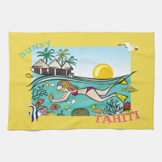 TAHITI KITCHEN TOWEL.  TROPICAL FISH PARADISE DIVE KITCHEN TOWEL