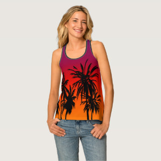 Tahiti Sunset Retro Palm Trees Purple Orange Haze Tank Top
