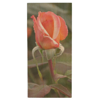 Tahitian Sunset Orange Rose Wood USB 2.0 Flash Drive