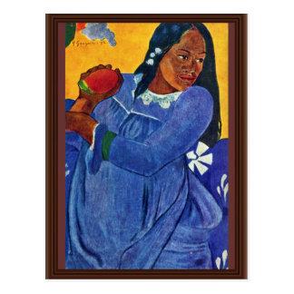 Tahitierin With Mango By Gauguin Paul Postcard