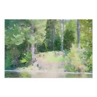 Tahquamenon Falls Abstract Watercolor Painting Poster
