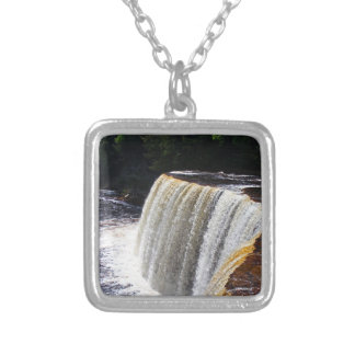 Tahquamenon Upper Falls V Silver Plated Necklace