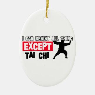 Tai chi martial design ceramic oval ornament