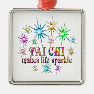 Tai Chi Sparkles Silver-Colored Square Ornament