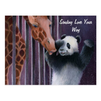 Tai Shan getting a kiss from Miss Sniffy Postcard