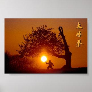 Taichi (taiji), tree cherry tree setting sun poster