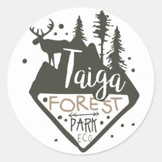 Taiga forest eco park promo sign classic round sticker