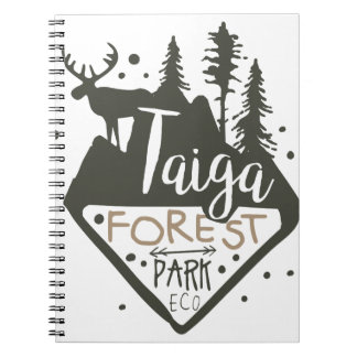Taiga forest eco park promo sign notebook