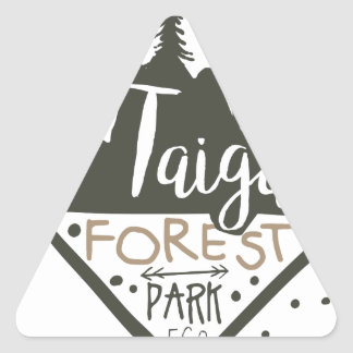 Taiga forest eco park promo sign triangle sticker