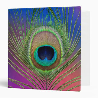 Tail feather of a peacock 3 ring binder
