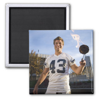 tailgate party before a football game square magnet