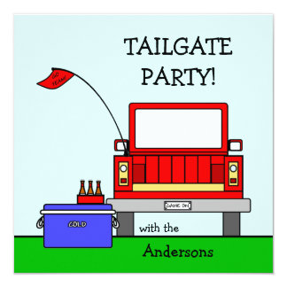 "Tailgate Party Truck 5.25"" Square Invitation Card"