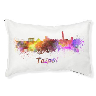 Taipei skyline in watercolor pet bed