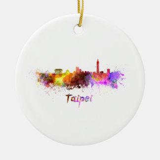 Taipei skyline in watercolor round ceramic ornament