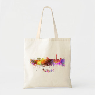 Taipei skyline in watercolor tote bag