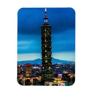Taipei, Taiwan Skyline at Night Magnet