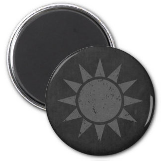 """Taiwan Flag """"Gray Vintage"""" 2 Inch Round Magnet"""