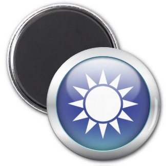"""Taiwan Flag """"Orb"""" 2 Inch Round Magnet"""