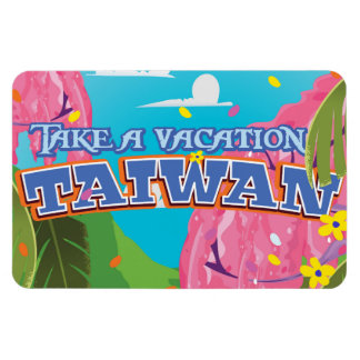 Taiwan island vintage travel poster art. rectangular photo magnet