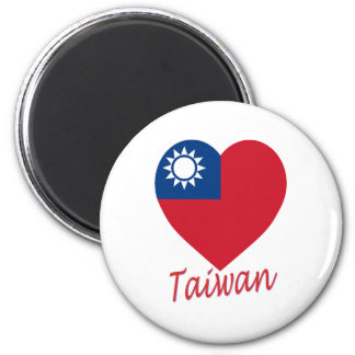 Taiwan (Republic of China) Flag Heart 2 Inch Round Magnet