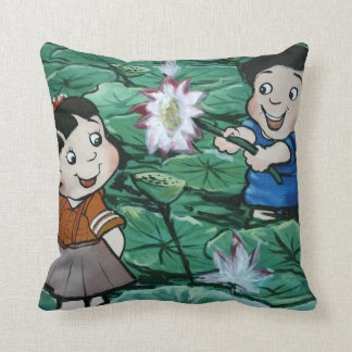 Taiwanese children in lily pond throw pillow