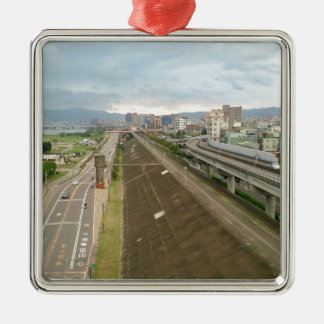 Taiwanese City and Landscape Silver-Colored Square Ornament