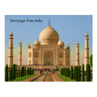 taj mahal bright postcard