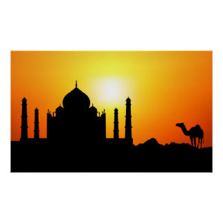 Taj Mahal & Camel On Sunset Background Poster