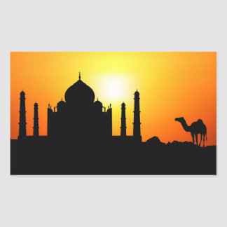 Taj Mahal & Camel On Sunset Background Sticker