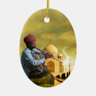 Taj Mahal Ceramic Oval Ornament