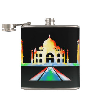 Taj Mahal Colorful Illustration Flasks