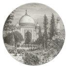 Taj Mahal Garden Agra India Heritage Site Landmark Plate