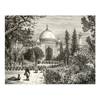 Taj Mahal Garden Agra India Heritage Site Landmark Postcard