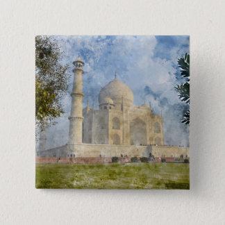 Taj Mahal in Agra India 2 Inch Square Button