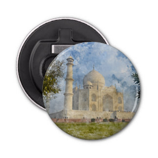 Taj Mahal in Agra India - Digital Art Watercolor Bottle Opener