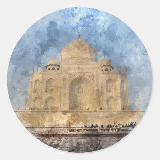 Taj Mahal in Agra India - Digital Art Watercolor Classic Round Sticker