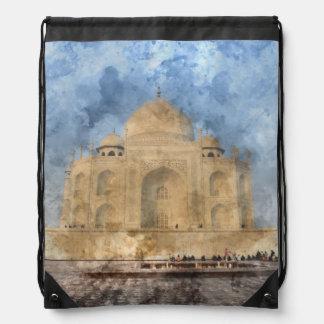 Taj Mahal in Agra India - Digital Art Watercolor Drawstring Bag