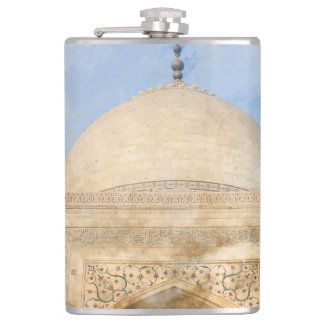 Taj Mahal in Agra India - Digital Art Watercolor Flask