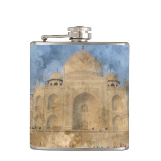 Taj Mahal in Agra India - Digital Art Watercolor Flasks