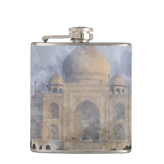 Taj Mahal in Agra India - Digital Art Watercolor Hip Flask
