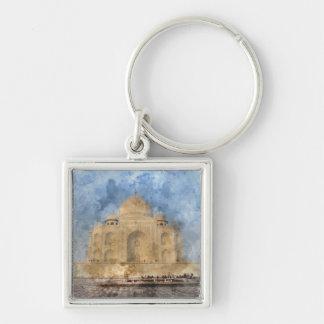 Taj Mahal in Agra India - Digital Art Watercolor Keychain