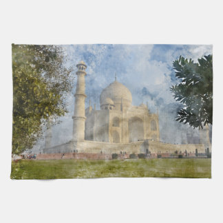 Taj Mahal in Agra India - Digital Art Watercolor Kitchen Towel