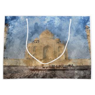 Taj Mahal in Agra India - Digital Art Watercolor Large Gift Bag