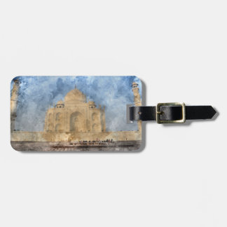Taj Mahal in Agra India - Digital Art Watercolor Luggage Tag