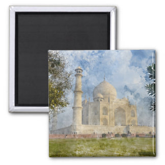 Taj Mahal in Agra India - Digital Art Watercolor Magnet