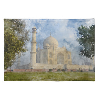 Taj Mahal in Agra India - Digital Art Watercolor Placemat
