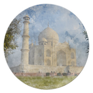 Taj Mahal in Agra India - Digital Art Watercolor Plate
